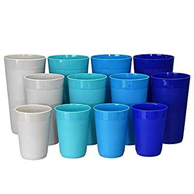 12pc Newport Unbreakable Plastic Cup Tumblers in 4 Coastal Colors, four 10oz juice, four 20oz water and four 32oz iced tea