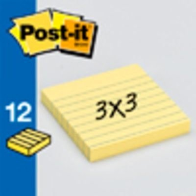 Post-it Notes, America's #1 Favorite Sticky Note, 3 x 3-Inches, Canary Yellow, Lined, 12-Pads/Pack by Post-it