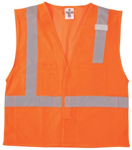ML Kishigo 1084 Ultra-Cool Polyester Velcro Front Multi Pocket Vest, Extra Large, Orange