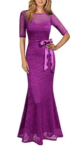 REPHYLLIS Women's Retro Floral Lace Vintage Wedding Maxi Bridesmaid Long Dress L Amaranth