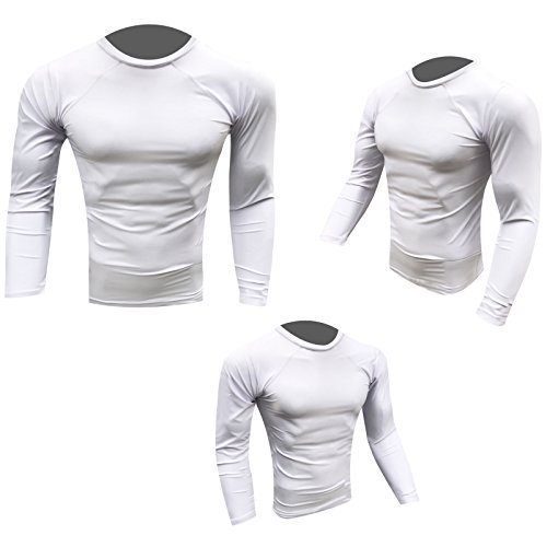 Prime-Maglietta Rash Guard MMA e Grappling-Gilet da corsa, con maglietta UFC-Guanti da boxe, da uomo, con maniche, misura piccola, colore: bianco Prime Sports