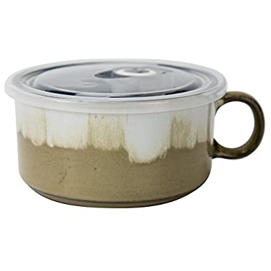 Boston Warehouse 22-Ounce Souper Bowl Washed Ivory and Taupe Stoneware Mug with Lid