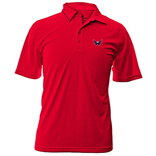 Nhl Washington Capitals Adult Men Surface Wordmark Polo Shirt Small Flame Red