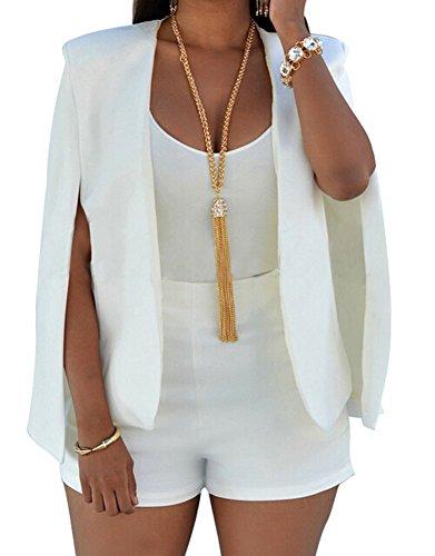 Faithtur Women Lapel Split Long Sleeve Blazer Solid Cape Suits Jacket Coat Outwear (US 10 / Label XL, White)