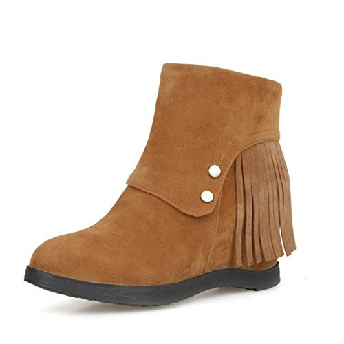 Allhqfashion Women's Imitated Suede Low-top Solid Zipper High-Heels Boots Brown xBKLex