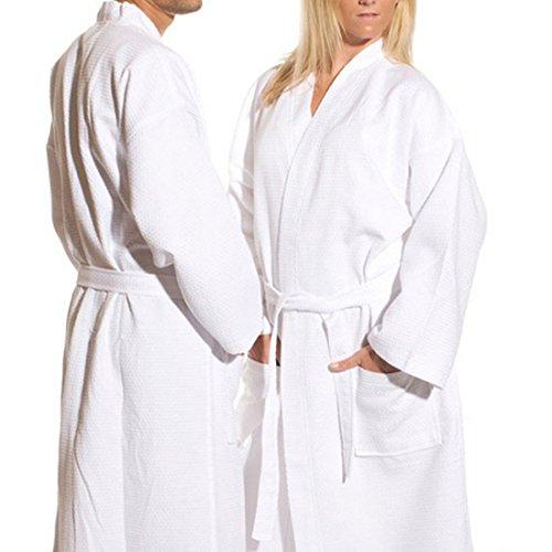 TowelRobes Waffle Diamond 100% Cotton Waffle Kimono Robe Unisex Bathrobe for Men and Women (White,XXL) Diamond Waffle Robe