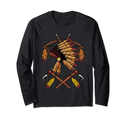Native American War Bonnet Bow Arrows Feathers And Tomahawk Long Sleeve T-Shirt