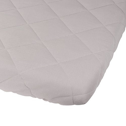Waterproof Cotton Quilted Pack n Play Sheet | Mini Crib Sheet | All in one Mattress Pad Cover and Cozy Sheet, Grey by Ely's & Co