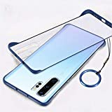 CELLUTION Matte Transparent Hybrid Frosted Frameless Design Rugged Armor Ultra Thin Bumper Case Cover with Ring Buckle for Samsung Galaxy Note 10 Plus - Matte Transparent Blue