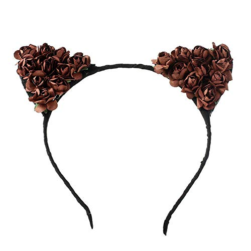 (Rose Flower Orecchiette Cute Cat Ears Headband Cosplay Party Costume Halloween (Color - Wine)