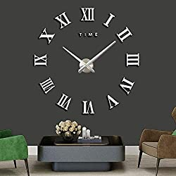 AOXLANT DIY Wall Clock, 3D Mirror Stickers Large Wall Clock Frameless Modern Design Large Watch Silent Home/Office/School Number Clock Decorations Gift (sliver1)