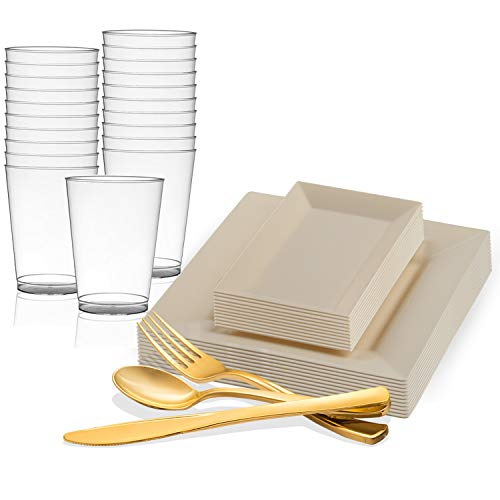 (Disposable Plastic Dinnerware Set for 120 Guests - Includes Fancy Square Ivory Dinner Plates, Rectangle Dessert/Salad Plates Silverware Set/Cutlery & Cups For Wedding, Birthday Party & Other)