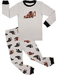 BOOPH Boys Pajamas 2 Piece Robot Long Sleeve Pajama Set 100% Cotton sleepwear 2T-7T