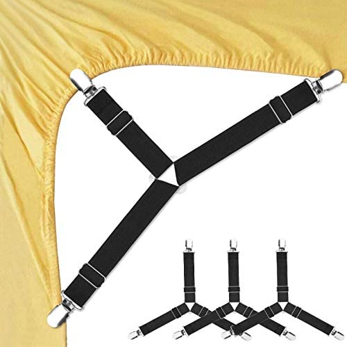 4pcs Triangle Bed Sheet Mattress Holder Clips Fastener Grippers Suspender Straps
