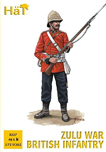 Plastic Toy Soldiers 1/72 Scale Zulu War British Infantry 48 Unpainted Figures Set #8237 Airfix Type from HaT