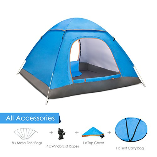 Amagoing 3-4 Person Family Camping Tent Portable Tent Waterproof Tent Shelter With Carry Bag for Backpacking,Great for Picnic,Hiking,Fishing,Outdoor Use (Blue1)