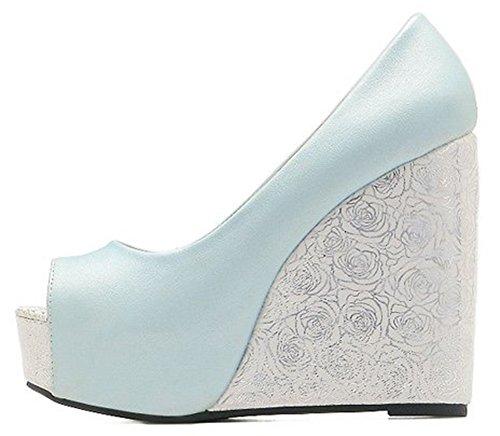 Idifu Femmes Doux Peep Toe Contraste Couleur Plate-forme Coin Slip Sur Les Pompes Avec Talon Bleu