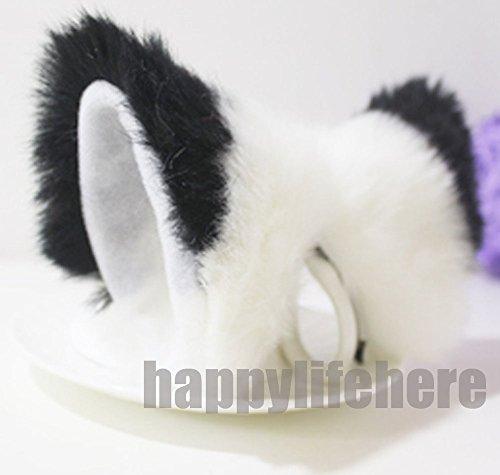 [Cat Fox Ears Kitty Costume Halloween Cosplay Fancy Dress Black with white Kits] (Fox Costumes Kit)