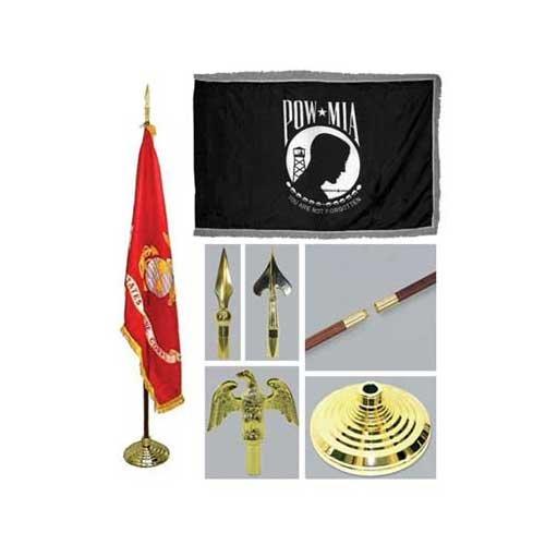 POW/MIA 3ft x 5ft Indoor Flag Flagpole Base and Tassel