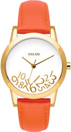 Rakani What Time? 32mm Gold on White Watch with Orange Leather Band by Rakani Watches - Fashionably Late Collection