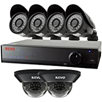 REVO America Lite 8 Channel 1 TB 960H DVR Surveillance System with 6 700TVL Cameras (Black)