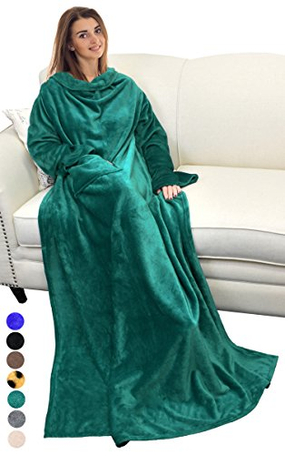 Catalonia Wearable Blanket with Sleeves and Pocket, Comfy Soft Fleece Mink Micro Plush Wrap Throws Blanket Robe for Women and Men 73