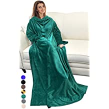 Catalonia Adults Wearable Blanket with Sleeves Arms,Soft Cozy Plush Fleece Wrap Throws Blanket Robe for Women and Men Green By