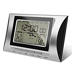 Jellas Indoor Hygrometer Thermometer, LCD Humidity Gauge with Multi-Weather Station, Date-Time Display, Built-in Clock for Home/Babyroom/Office. (Weather Station)