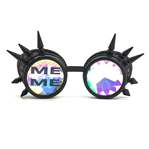 3D Rainbow Prism Kaleidoscope Rave Glasses, Diffraction Steampunk Goggles, Black Spikes, Meme -