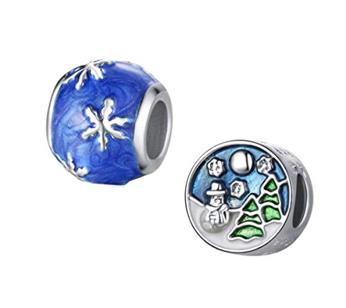 J&M Set of 2 Winter Themed Charm Beads for Bracelets