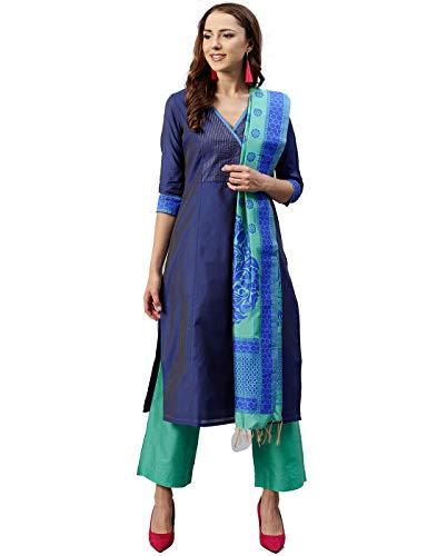 - Jaipur Kurti Women Blue & Sea Green Solid Straight Chanderi Kurta with Palazzo & Dupatta