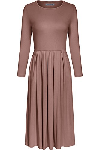 Bon Rosy Women's 3/4 Sleeve A Line Midi Pleated Dress with Side Pockets Taupe M -