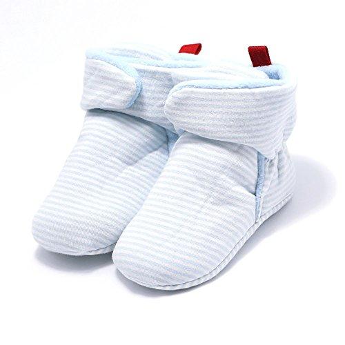 Hzjundasi Baby Schuhe Junge Mädchen Kleinkind Anti-Rutsch Hohe Stiefel Erstes Gehen Schuh 0-24 Monate 12 Farbe Blauer Streifen