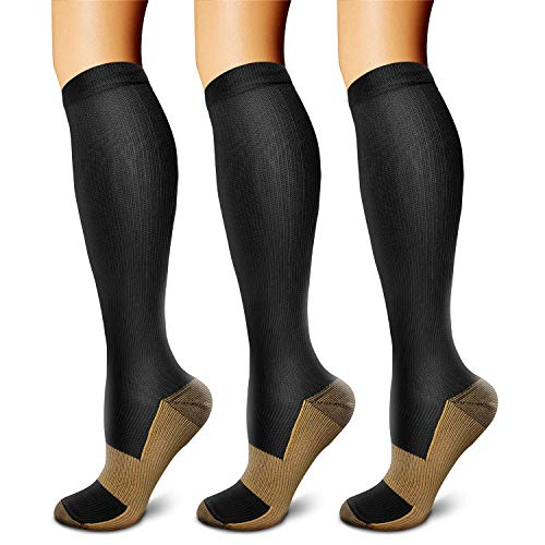 CHARMKING Copper Compression Socks (3 Pairs), 15-20 mmHg is Best Athletic & Medical for Men & Women, Running, Flight, Travel, Nurses - Boost Performance, Blood Circulation & Recovery (L/XL, Black)