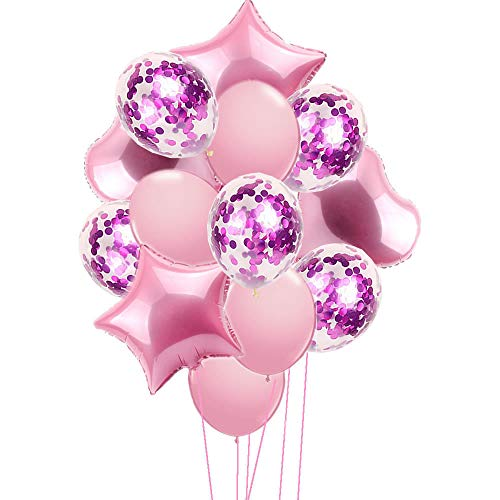 Rzctukltd 14 Pcs Star Heart Balloon Set Party Decoration for Birthday Party Celebration Wedding Party Foil Balloons [18''/12'' Pink]