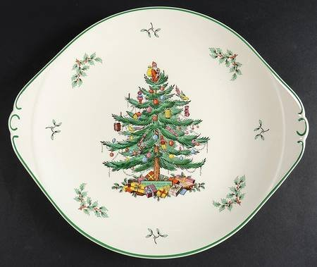 (Spode Christmas Tree-Green Trim Handled Cake Plate, Fine China Dinnerware )