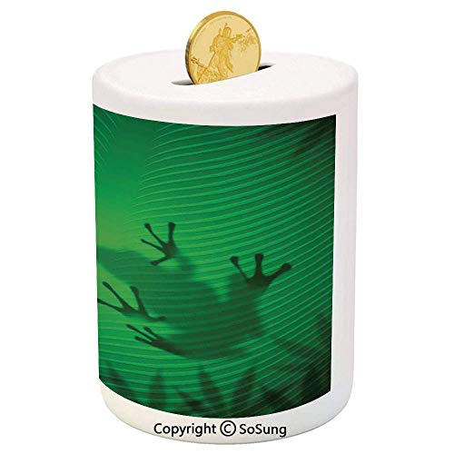Animal Decor Ceramic Piggy Bank,Frog Shadow Silhouette on The Banana Tree Leaf in Tropical Lands Jungle Light Games Graphic 3D Printed Ceramic Coin Bank Money Box for Kids & Adults,Green
