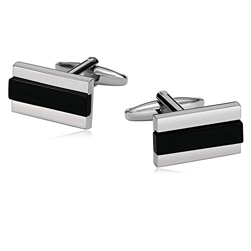 ess Steel Cufflinks for Mens Womens Rectangle with Horizontal Overlay Silver Black ()