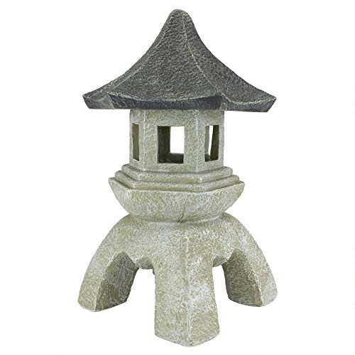 Design Toscano Asian Decor Pagoda Lantern Outdoor Statue, Large 17 Inch, Polyresin, Two Tone Stone (Sale Fountains Yard Front For)