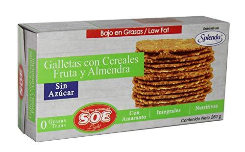 SOE Light Galletas con Cereales Fruta y Almendra sin Azúcar, 260 Gr