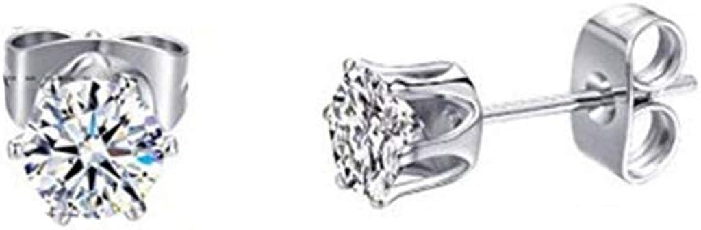 Ogquaton Boucles doreilles hommes femmes acier inoxydable clair rond zircon cubique incrust/é oreille Stud amour cadeau pratique et populaire