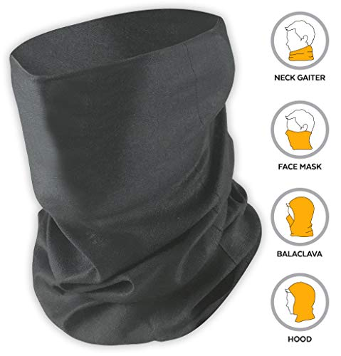 12-in-1 Headband [Solids] - Versatile Lightweight Sports & Casual Headwear - Bandana, Neck Gaiter, Balaclava, Helmet Liner, Mask & More. Constructed with High Performance Moisture Wicking Microfiber (