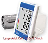 EastShore Upper Arm digital blood pressure monitor with large cuff (designed for big people) . 120 memory in 4 group ,Irregular Heart Beat detector, Jumbo LCD