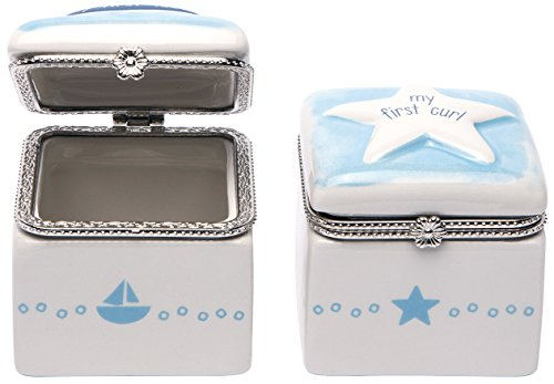 C.R. Gibson, Ceramic First Tooth and Curl Keepsake Box, Sailboat and Star; Baby Shower Gift; Baby Boy Keepsake Box; 2 Pieces