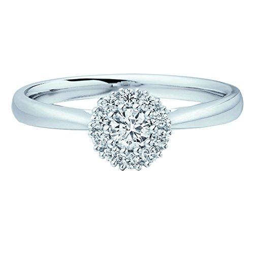 Grappe de diamants ronds 0,25carats Bague de Fiançailles en Or Blanc