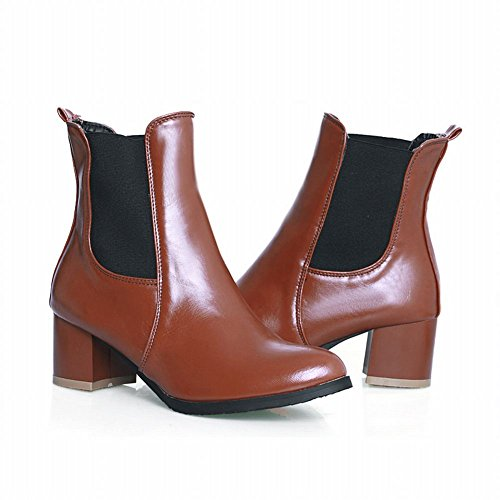 Latasa Boots Leather Red Ankle Women's Western high Charm Mid Chunky heel Wine aHwaqrx6C