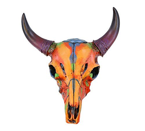Colorful Western Small Size Faux Steer Bull Cow Skull - Painted