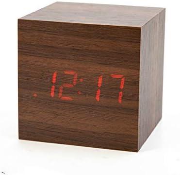 Led目覚まし時計ウッドレトログロー時計デスクトップテーブル装飾音声コントロールスヌーズ機能デスクカレンダー