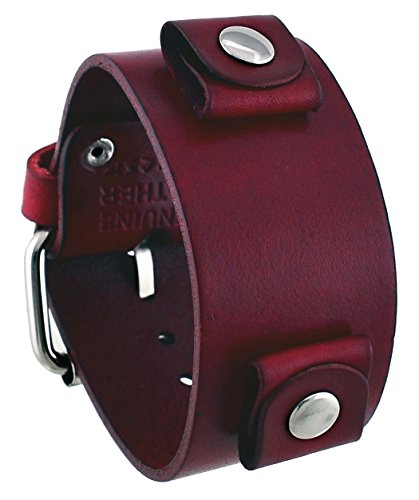 Nemesis #GB-R Unisex Blood Red Wide Leather Cuff Wrist Watch Band