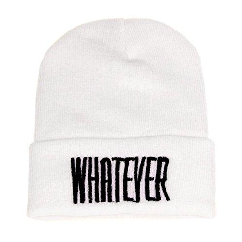 - BEAUTYVAN Cap Vintage Fashion Winter Black Whatever Beanie Hat and Snapback Cap (White)